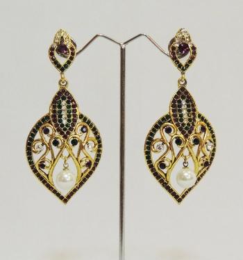 Purple Green Intricate Designer Dangler Earrings
