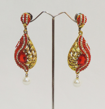 Orangish Red Gold Feather Pearl Teardrop Earring