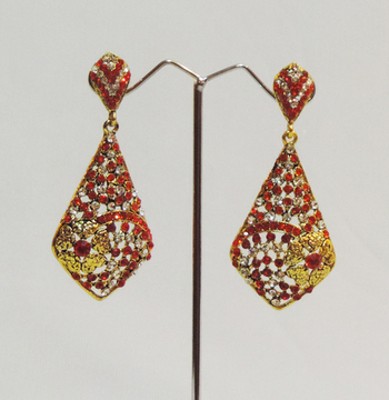 Red Gold Floral Dangler Earrings