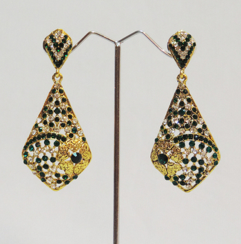 Green Gold Stones Floral Dangler Earrings