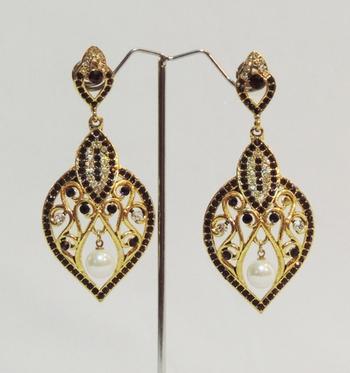 Purple Gold Intricate Dangler Earrings