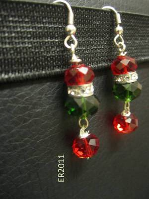 Green and red crystal earring