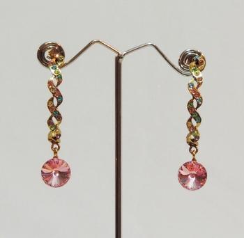 Gold Pink Teardrop Stones Earrings