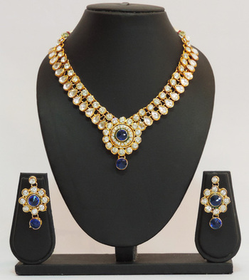 Blue Gold Kundan Floral Necklace Set