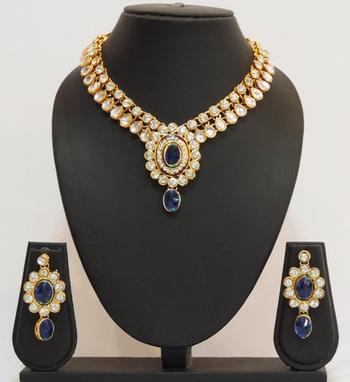 Blue Gold Kundan Teardrop Necklace Set