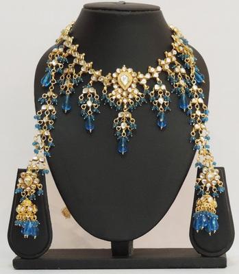 Blue Kundan Choker Jhaalar Necklace Set