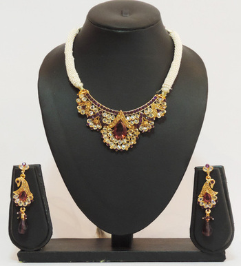 Wine Gold Polki Intricate Pearl Chain Pendant Set