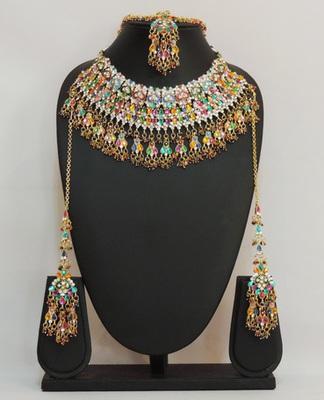 Multicolour Enameled Jhaalar Necklace Set