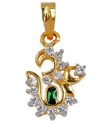 Graceful Green American Diamond Om Pendant