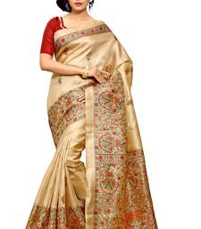 Buy Beige printed khadi saree with blouse women-ethnic-wear online