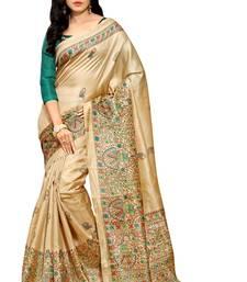 Buy Beige printed khadi saree with blouse women-ethnic-wear online