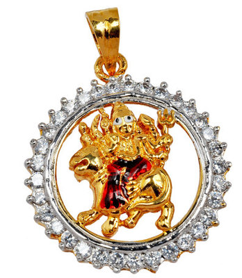 Suave Gold American Diamond Maa Shera Waali Pendant
