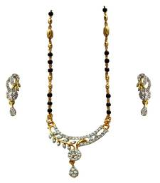Designer American Diamond   Black  Gold Plated Shiny  Mangalsutra