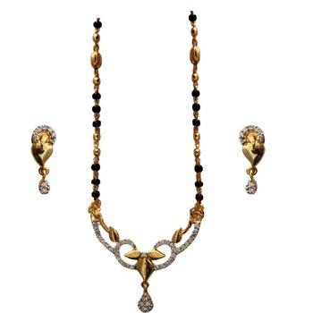 Designer American Diamond  Black  Gold Plated Shiny  Mangalsutra