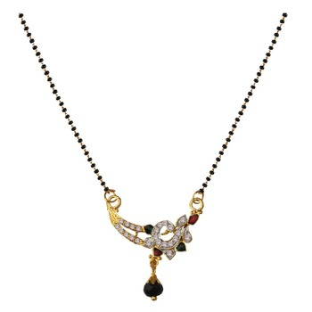 Ethnic  Multicolor  Gold Plated With Stone Studded  Mangalsutra