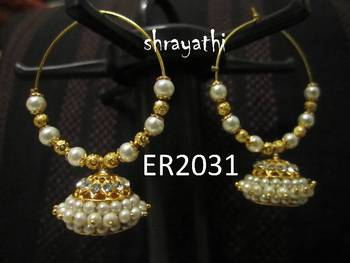 Temple jewelry jhumka earring with white stones