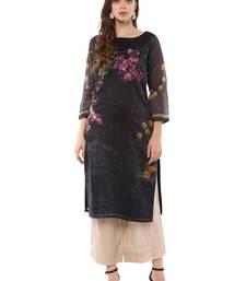 Black stitched Poly Chanderi stitched kurti