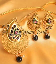 BEAUTIFUL ANTIQUE BLACK-PINK MANGO DESIGNER NECKLACE SET-DJ13554