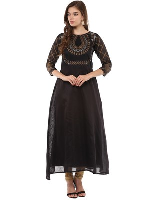 Black stitched Poly Chanderi stitched kurti