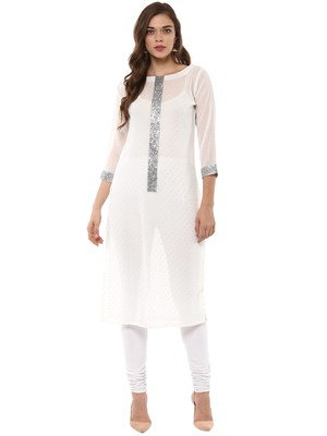 White stitched Georgette stitched kurti
