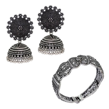 Silver Plated Oxidized Jhumki Earrings And Oxidized Bracelet | Rajasthani Brass Combo Gift For Girls, Ladies, Women