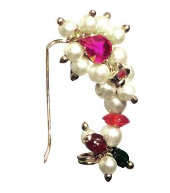 Nath Medium For Left  Pierced nose  Maharashtrian Nose ring of Special White Pearl beads