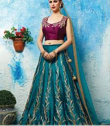 Buy Blue embroidered silk unstitched lehenga with dupatta lehenga online