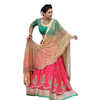 Pink embroidered dupion silk unstitched lehenga with dupatta