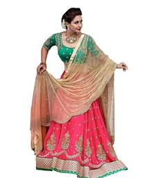 Buy Pink embroidered dupion silk unstitched lehenga with dupatta lehenga online