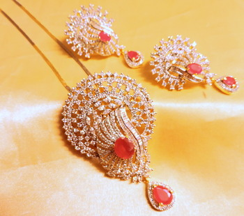 ruby stone pendent set