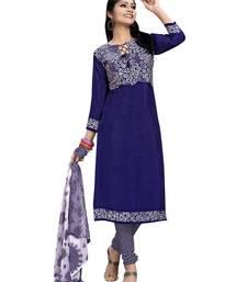 Buy Blue printed chiffon salwar with dupatta salwar-kameez-below-300 online