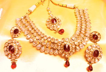 mehndi gold zirconia necklace set