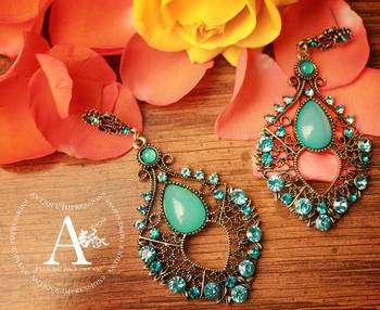 Delicate Lady Turquoise Chandaliers Earrings, Turquoise Crystals & Diamond Studded