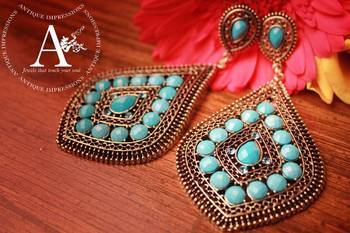 Turquiose Blue chandelier Gemstone earrings, Antique Ethnic Collection