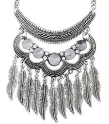 Grey black silver stone necklaces