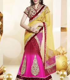 Buy pink embroidered chiffon saree with blouse lehenga-saree online