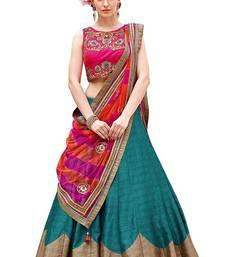 Buy Dark green embroidered silk  semi stitched lehenga choli with dupatta (Premium quality) lehenga-choli online