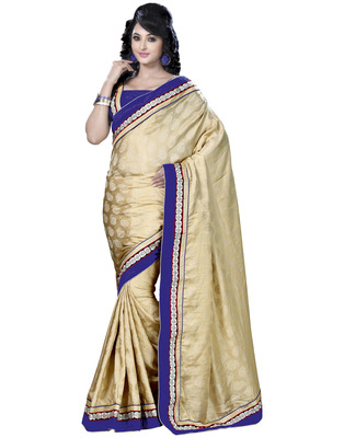 Cream Embroidered Jacquard Saree With  Blouse