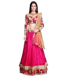 Buy Pink plain silk semi stitched lehenga choli with dupatta (Premium quality) lehenga online