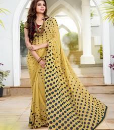 Buy beige printed georgette saree with blouse printed-saree online