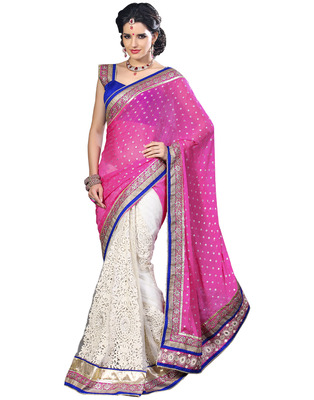 Pink Jacquard & Net Designer Hand Work Embroidered Sarees With  Blouse