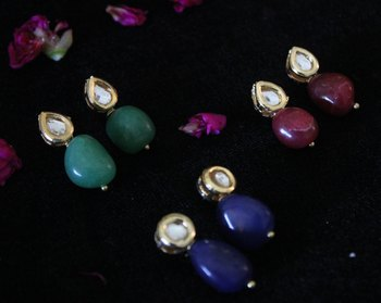 Green Red and Blue Kundan Studs - Set of 3 Pairs