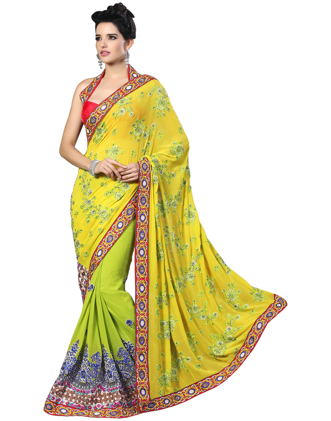 0a9ce811b2c34 Yellow Georgette Fancy Hand Work Embroidered Sarees With Blouse - Surat Tex  - 278341