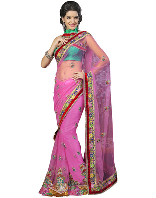 Pink Net casual Hand Work Embroidered Sarees With  Blouse