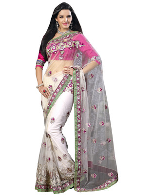 White Net Designer Hand Work Embroidered Sarees With  Blouse