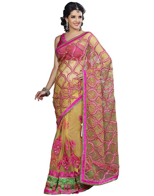 Gold Net Designer Hand Work Embroidered Sarees With  Blouse