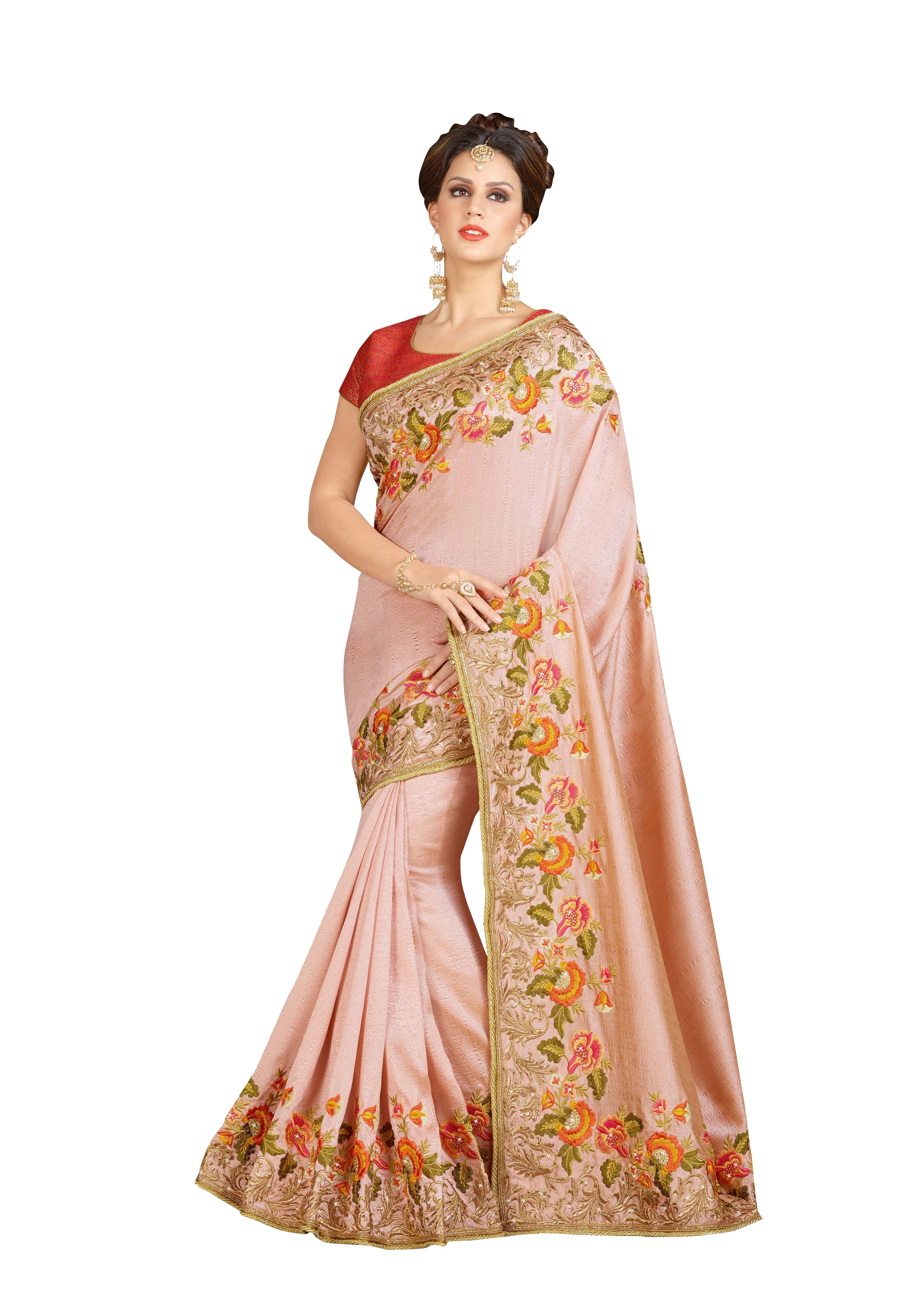 c3acff4df0 Pink embroidered brocade saree with blouse - Urban India - 2087507