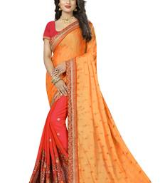Buy Yellow embroidered crepe saree with blouse crepe-saree online