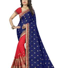 Buy Blue embroidered bemberg saree with blouse georgette-saree online