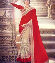 Buy Red embroidered silk saree with blouse wedding-saree online